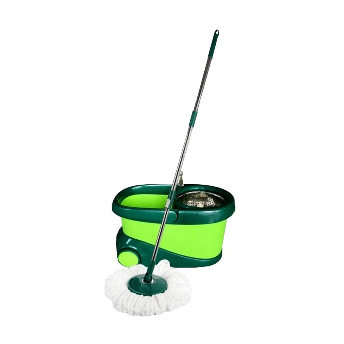 Trapeador Giratorio Cubeta Magic Bucket Con Mop Verde Dust