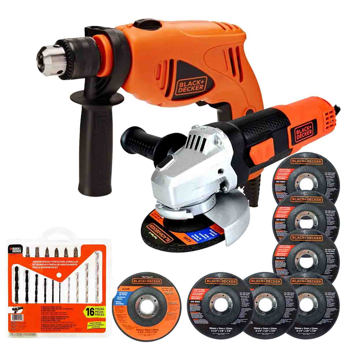 Kit Black&decker Rotomartillo Y Esmeriladora 16 Acc. 6 Disco