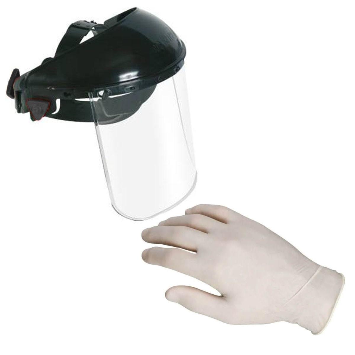 Mascarilla Protector Cubre Cara + Guantes Blanco Latex Virus