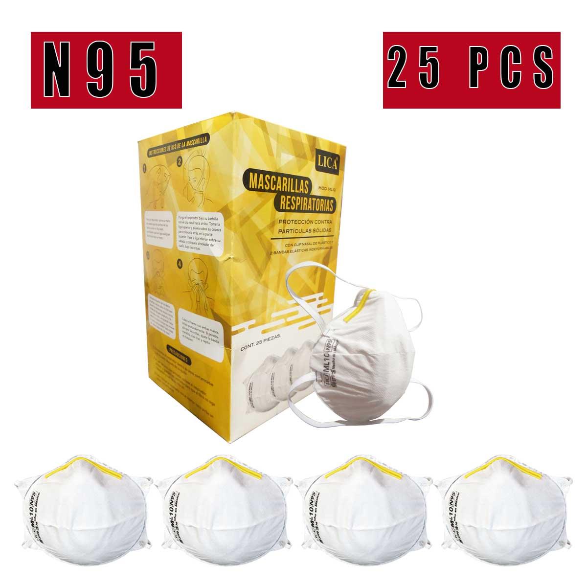 Mascarilla N95 Cubrebocas Caja Con 25 Piezas Industrial