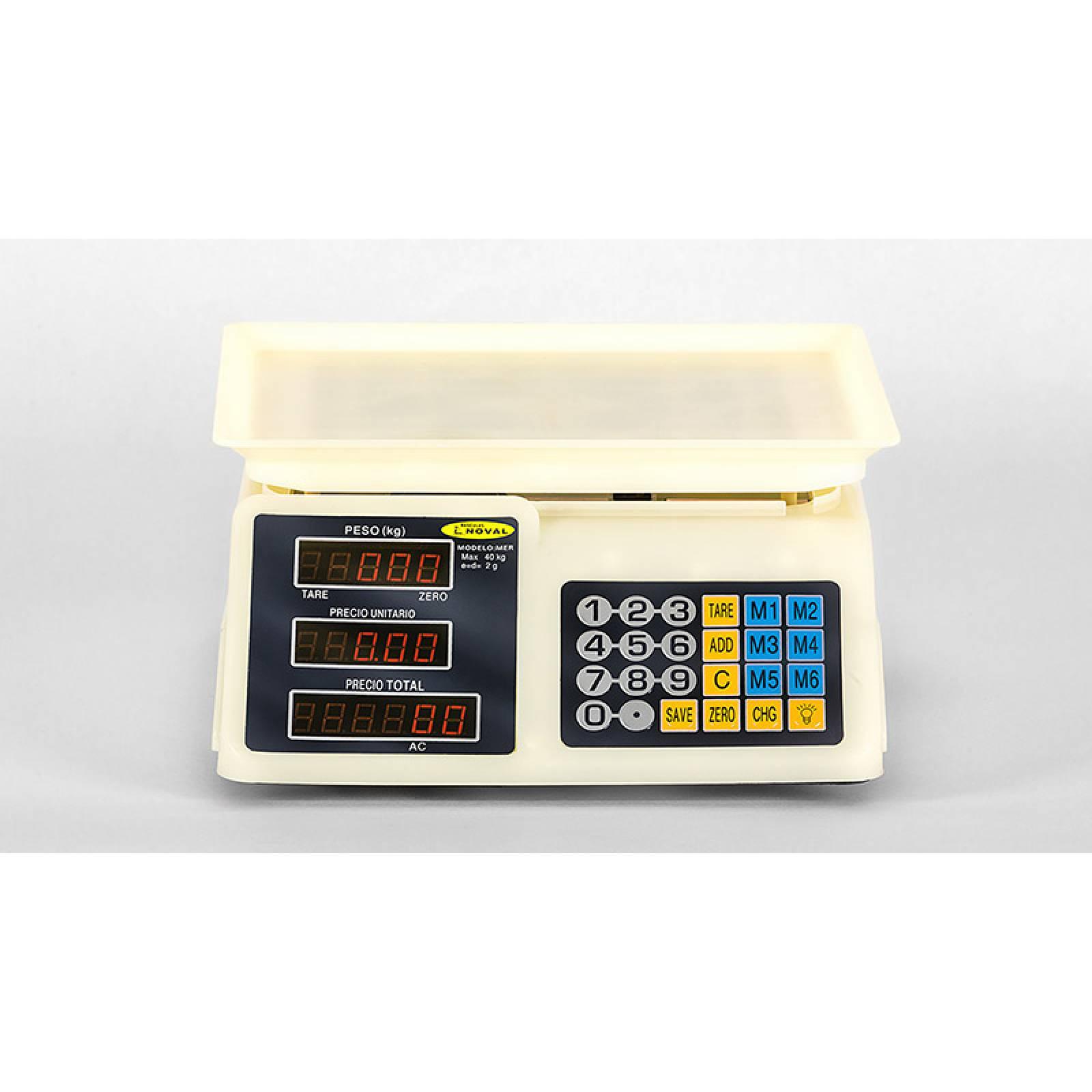 Bascula  40 Kilos Acabado ABS Bateria Recargable MER Noval