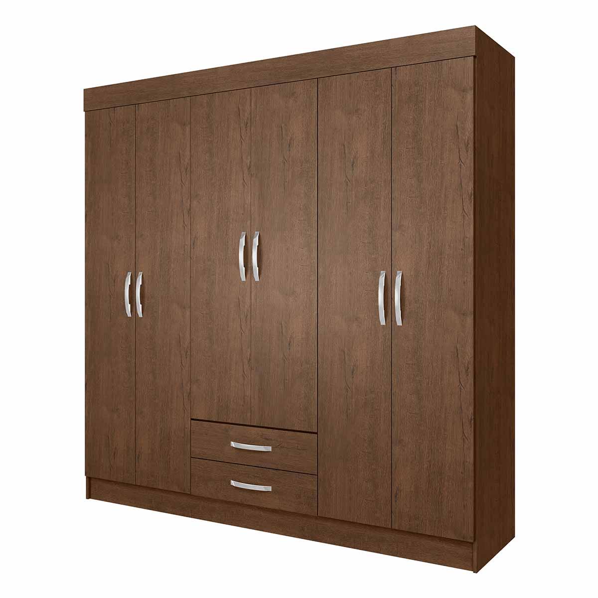 Ropero Closet Armario Mueble Moderno 6 Puertas 2Cajones Casa
