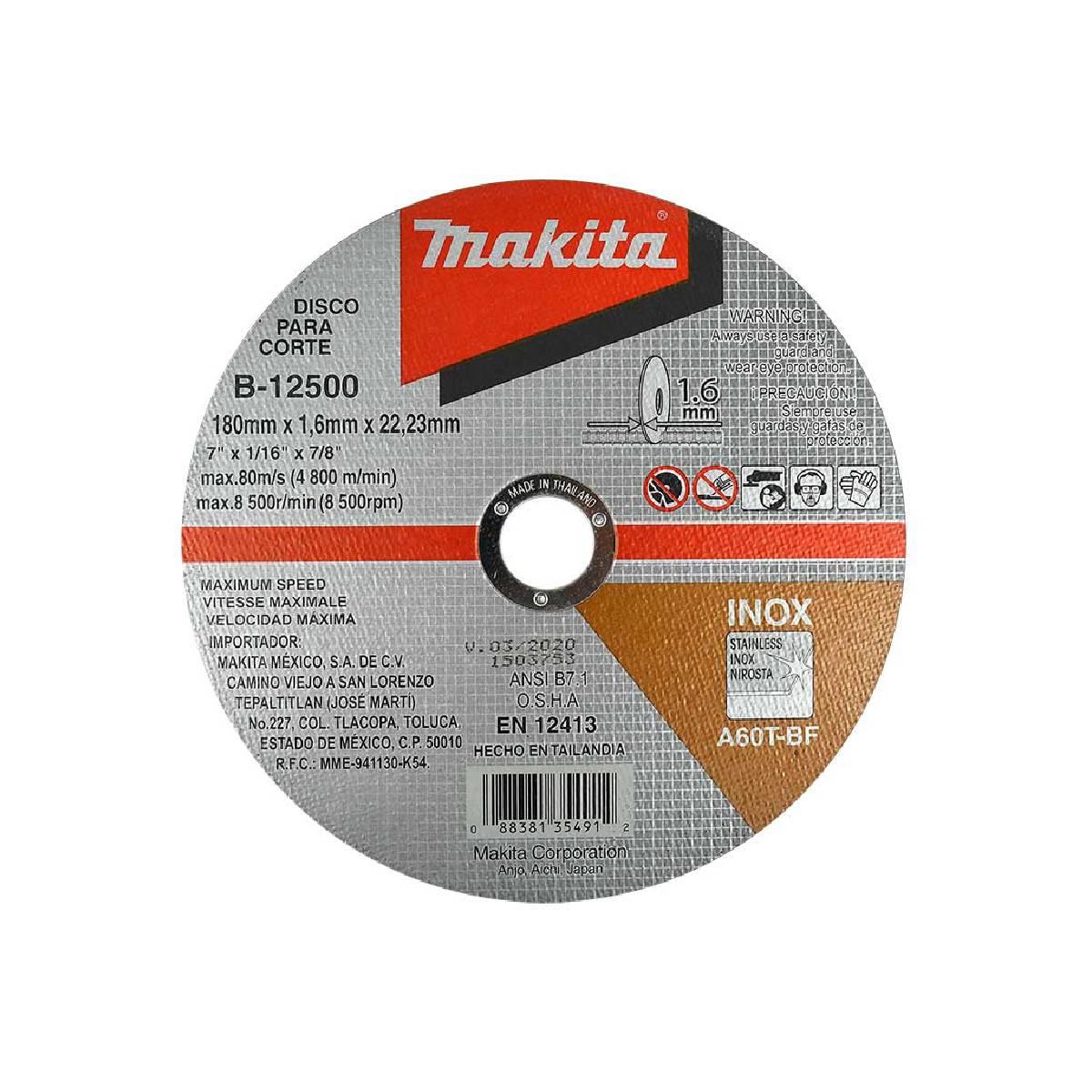 Disco Para Corte Acero Inoxidable 7 InX1/16 InX7/8 In Makita