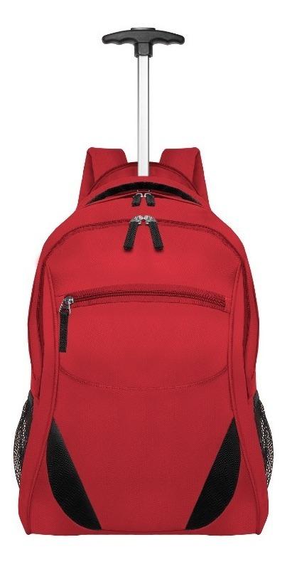 Mochila Back Pack Ruedas Roja Capacidad 37l Mango Extensible