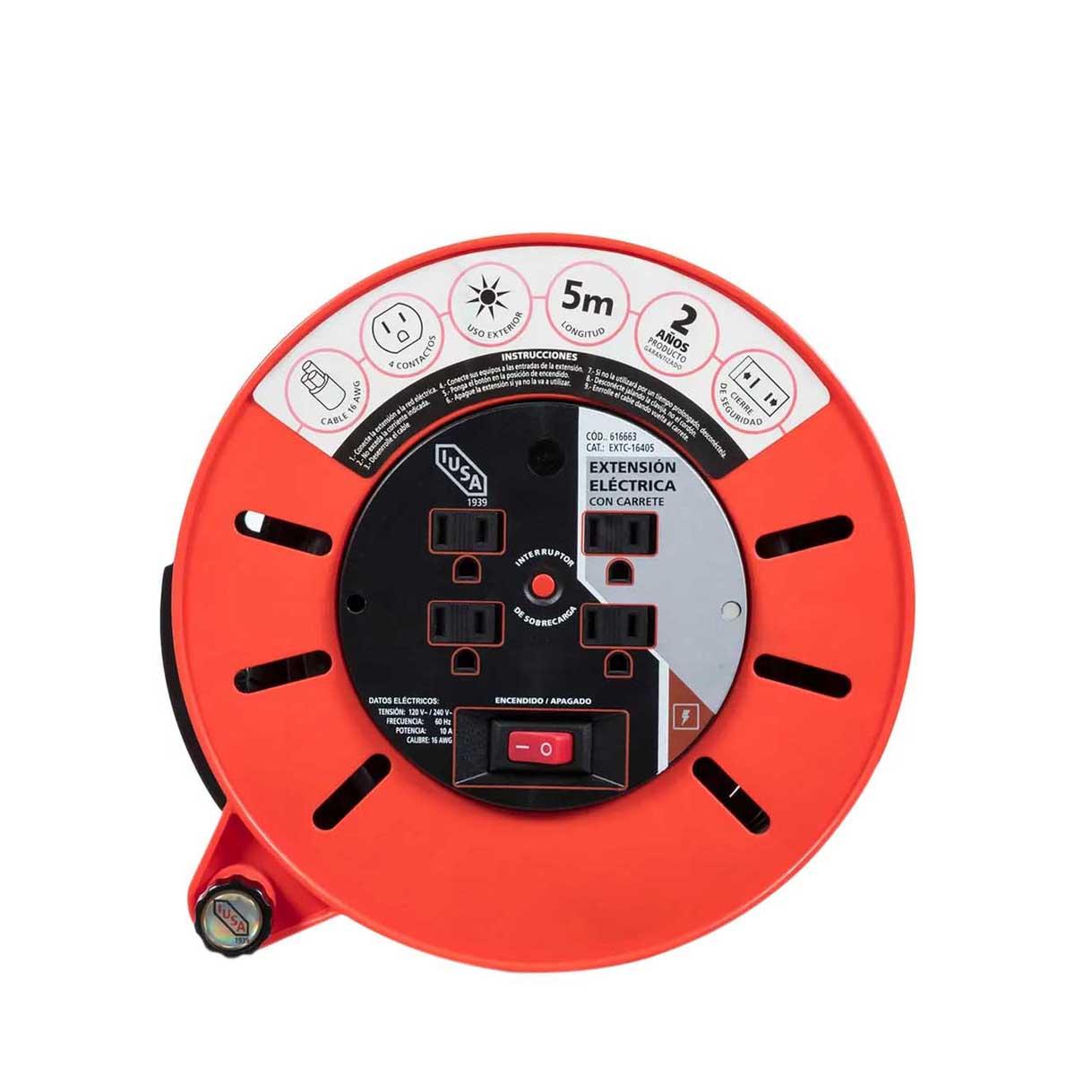 Extension Electrica 16 Awg Con Carrete 5 M 4 Entradas Iusa