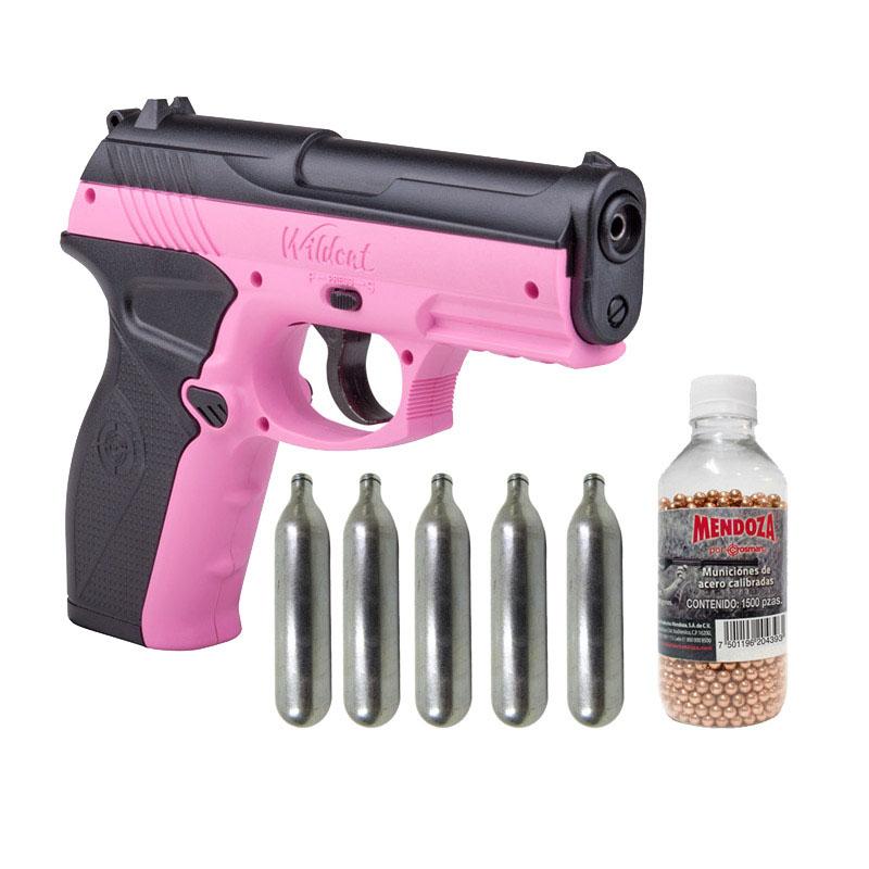 Pistola Rosa Semi Automatica+5 Co2+1500 Municiones Crosman
