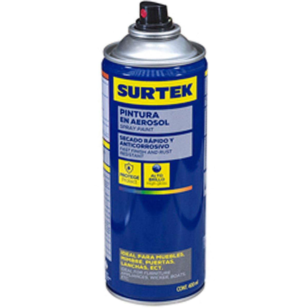 Pintura En Aerosol Spray Lata Metalico Aluminio 400Ml Surtek