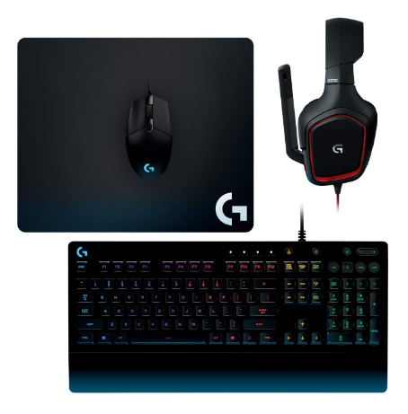 Kit Gear Up Logitech Mouse G203 Teclado G213 Tapete G240 Diadema G230